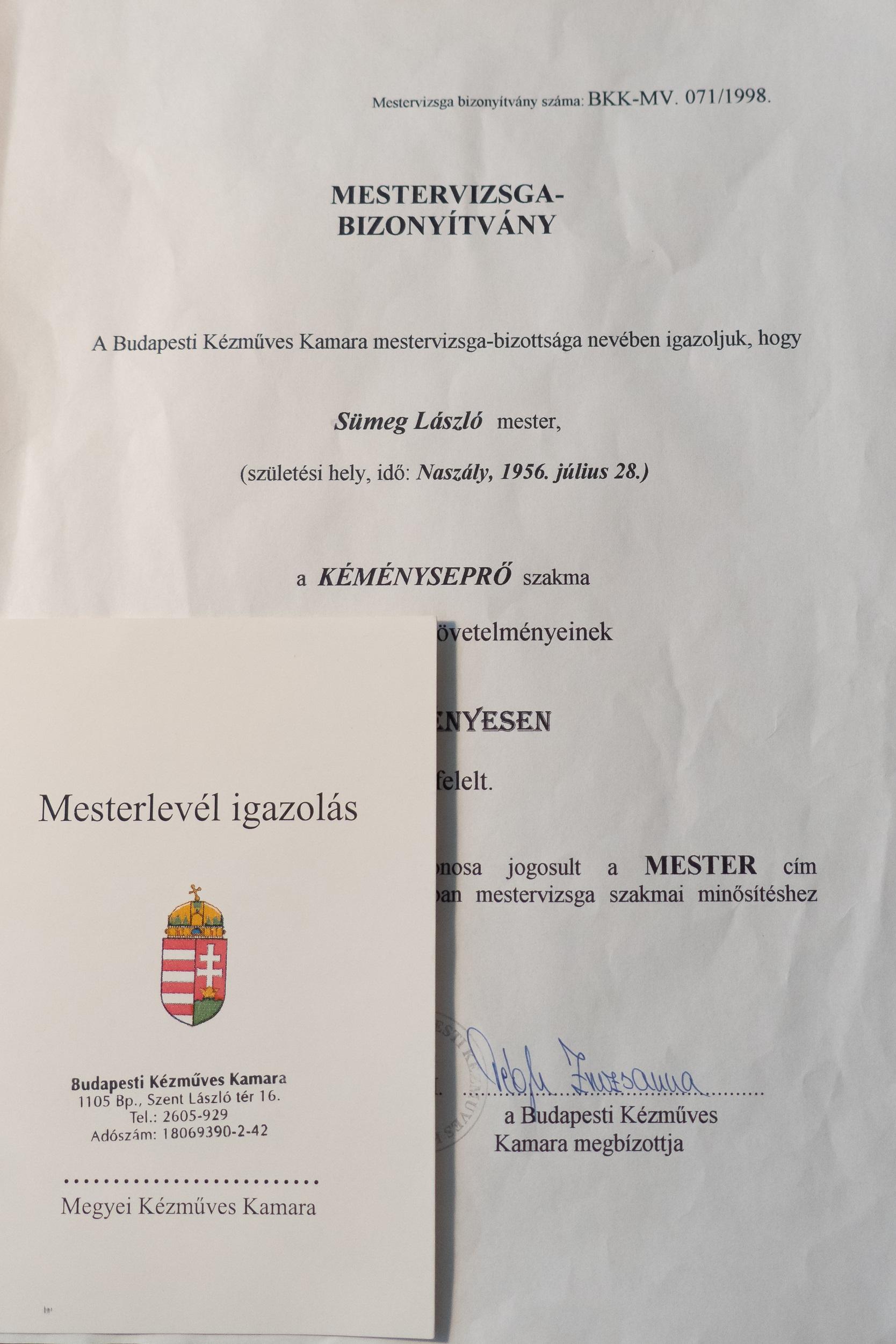 Sümeg László kéményseprőmester mesterlevele